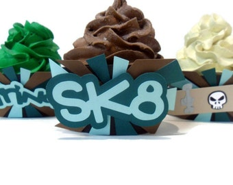 Skateboard Cupcake Wrappers - Set of 12