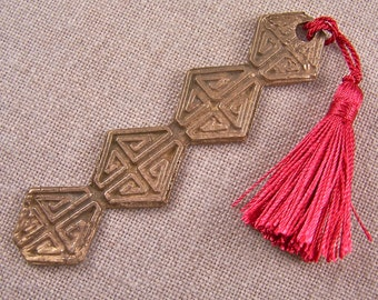 Bookmark - Bronze PMC Swirl Coil Colorful Tassel in Red Copper Highlights - Precious Metal Clay - Textured Ancient Asian Motif Modern Art