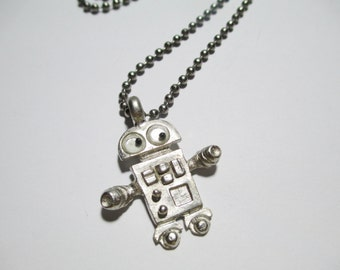 Vintage Googly Eyed Robot Necklace DEADSTOCK