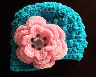Bubble hat with visor, pink flower - NB