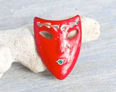 Drama Time - Tiny Red Mask Brooch