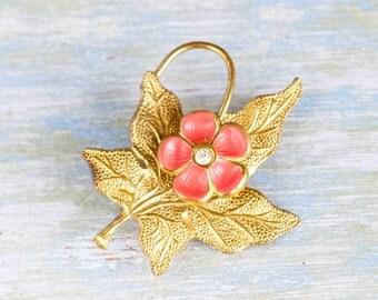 Vintage Brooch - Salmon Flower on Golden Leaf