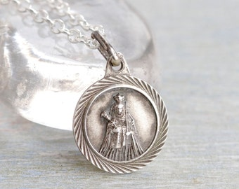 Your Royal Highness Necklace - Sterling Silver Queen Medallion on Chain
