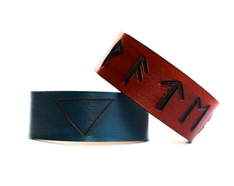 Water Classical element leather cuffs symbol runes
