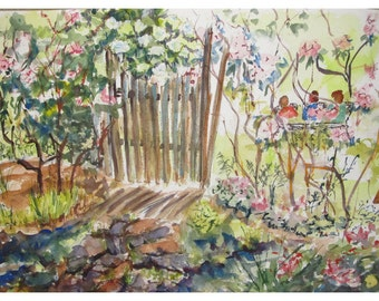 A Garden Party  -  Original Watercolor