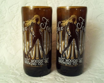 Set of 2 Big Woods Brewing Company Beer Bottle Glasses - Six Foot Blonde