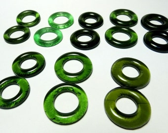 Recycled Jewelry Kiln Polished Bottle Rings 8 Pairs  (R836)