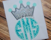 Crown Monogram Topper Applique Design Machine Embroidery INSTANT DOWNLOAD