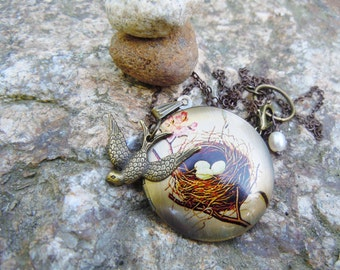 Bird's Nest Locket Pendant Necklace Nature Summer