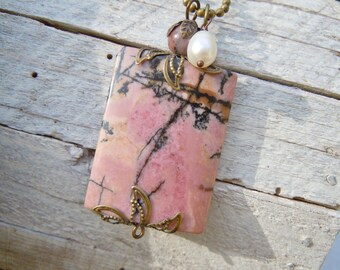 Rhodochrosite Vintaj Wrapped Pendant Necklace Pink