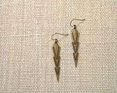 Long Art Deco Brass Drop Earrings, Minimalist Jewelry, Lightweight, Oxidized Brass, Chevron