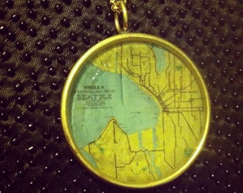 Vintage Map of Seattle Necklace