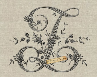 Antique French Monogram Letter Z Instant Download Digital Image No.254 Iron-On Transfer to Fabric (burlap, linen) Paper Prints (cards, tags)