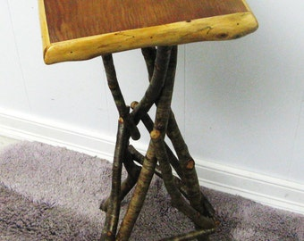 RUSTIC PLANT STAND, Occassional Table, Reclaimed Wood, Plant Stand, Side Table, Folkart Table, Primitive Table, Trampart Table, Candle Stand