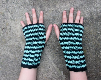 Arm Sox - mint with black - wrist warmers, texting gloves, fingerless mittens.