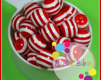 6 Pieces 20mm Red Striped Resin Gumball Style Beads DIY Crafts For Chunky Necklaces And Bracelets