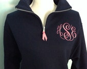 Monogram Fleece  zip pullover