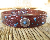 """Handmade Leather Dog Collar. Embossed 1"""" Cocoa Brown Leather Collar. Flowering Vine Design. Hand painted with Turquoise Rivets."""