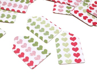 CLEARANCE - White tags with hearts- set of 35 (TCP21)