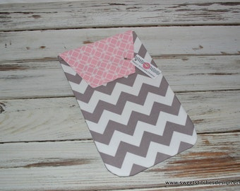 Diaper Clutch - Baby Diaper Holder Gray Chevron - Grey Chevron with Pink Flap