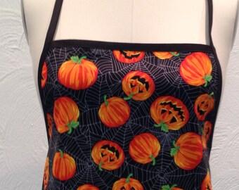 Pumpkin adult apron with black ties