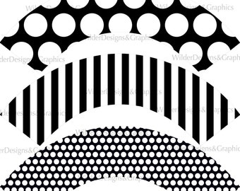Black & Whites/Stripes and Dots/Printable Cupcake Wrappers/Instant Download (pcw160)