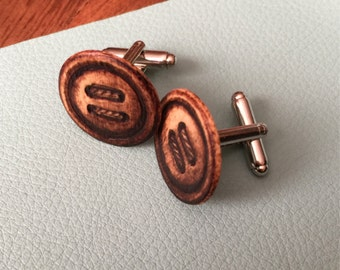 Wood-burned Button Cuff Links