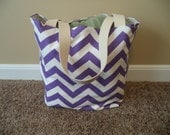 Medium Beach , beach tote, pool bag, tote in a purple and white chevron print