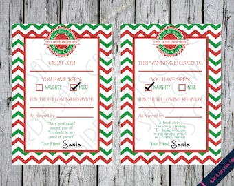Santa report card etsy naughty list note from the north pole santas elves stationery christmas letter from santa spiritdancerdesigns Images