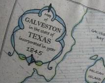 Galveston Texas Vintage Map Pillow - Blue Pillows, Nautical, Island, Beach Decor, Beach House, Ocean, Coastal, Beach Cottage, Gifts For Him