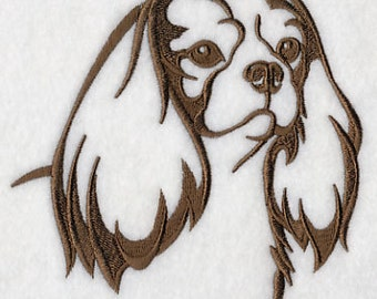 Cavalier King Charles Spaniel Silhouette Embroidered Flour Sack Hand/Dish Towel