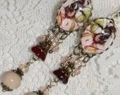 English Garden Design Cameo Long Dangle Earrings - Garnet Taupe