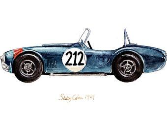 "Shelby Cobra, classic automobile watercolor print, 8x10"""