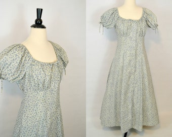 1980s Slate Blue and White Flower Print Maxi, Peasent Dress, Hippy, BOHO, Romantic