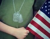 My hero wears dog tags kids t-shirt