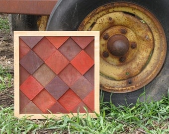 Modern Wood Block Wall Art - RED BARN - 14.5 inches X 15 inches