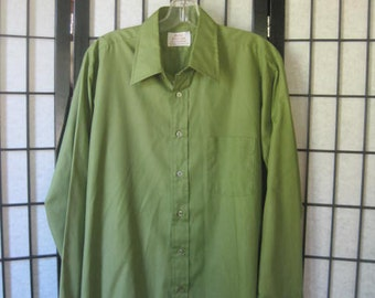 Vintage 1960s 1970s Mens Shirt by Arrow Kent Collections French Cuffs Olive Green 46 Medium Large