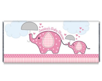 Pink Umbrella Elephants Baby Shower Candy Bar Wrappers Elephant Baby Shower Favors