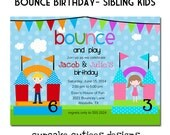 Bounce Kids House Siblings Twins Digital Custom Invitation Card PRINTABLE U print