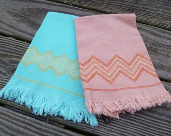 Huck towels, coral and turquoise, vintage, free shipping