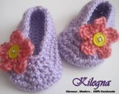 Easter Shoes Baby Girls Crochet Shoes READY TO SHIP 0-3 month Lavander Purple Baby Shoes