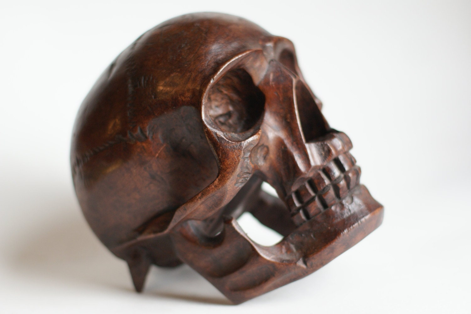 Free shipping wooden skull hand carved by fighousevintage