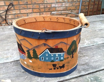Oval wood bucket, hand painted bucket