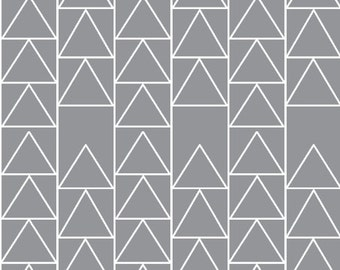 Straight Crib Skirt -  Grey Triangle Stack - ModFox Exclusive Print