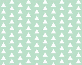 Straight Crib Skirt - Mint Triangles - ModFox Exclusive Print