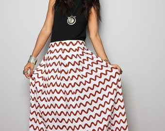 Maxi Skirt - Brown Wave Stripe Print Floor Length Skirt : Feel Good Collection No.3