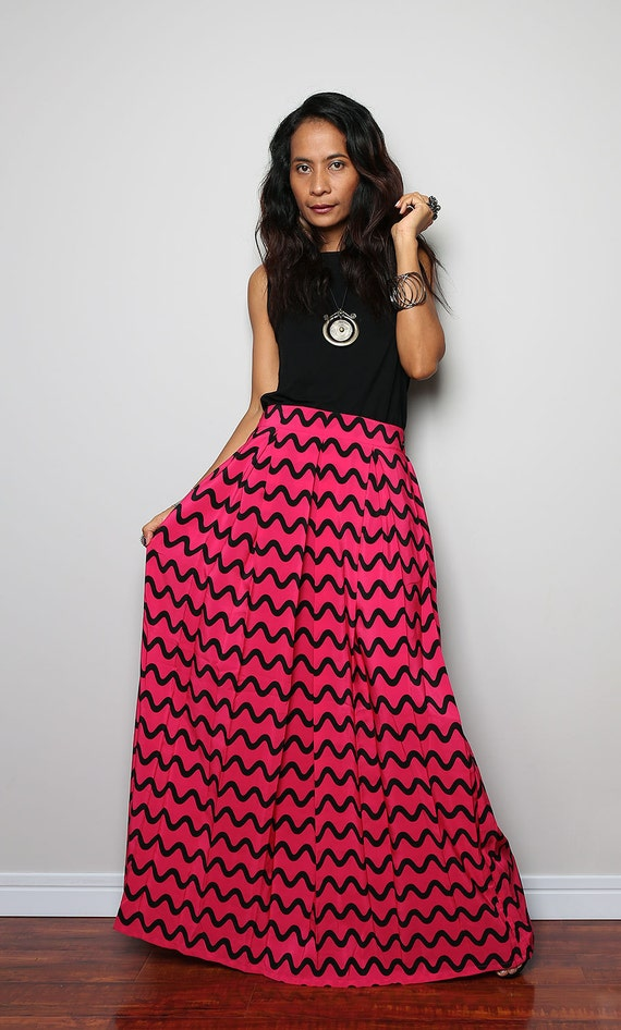 Maxi Skirt Pink and Black Wave Stripe Floor Length Skirt :