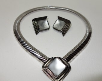 YSL Yves Saint Laurent Silvertone Metal and frosted Glass Demi Parure in Art Deco Look w/Earrings