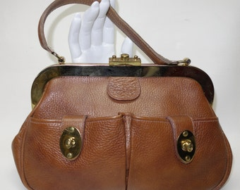 Roger Van S. 60s Brown Leather Handbag MOD Bag
