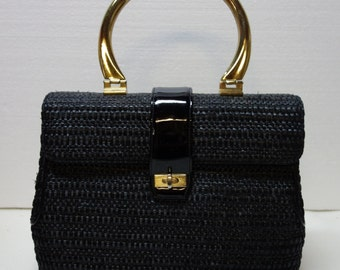 Raffia & Patent Handbag with Brass Handle by MORRIS MOSKOWITZ